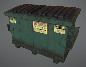 3D asset Lowpoly PBR Rusty Dumpster and Trashbag