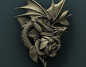 Dragon on roses 3d stl model for CNC
