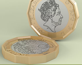 3D model New British Pound Coin