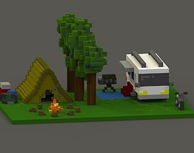 realtime Campsite Voxel Model