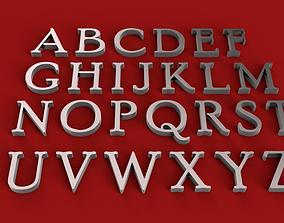 POOR RICHARD font uppercase and lowercase 3D letters STL