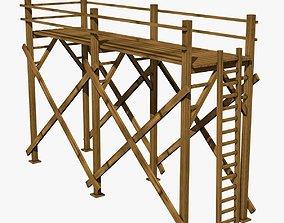 3D model Wooden Scaffolding