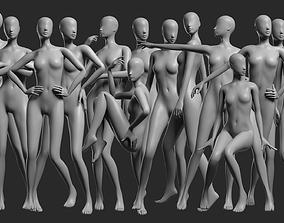 3D model Animated Female Mesh - 14 poses