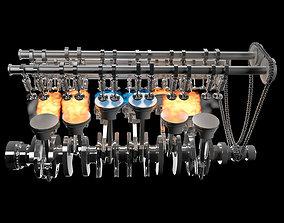 3D model V12 Engine Animation