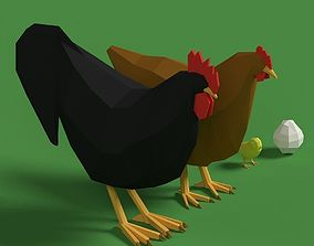 Low Poly Rooster Hen Chicken Egg Set 3D model