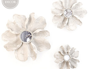 HP DECOR Wall decor White Flower Mirror 3D model