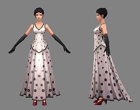 Cartoon woman in dress - Asian beauty 3D asset