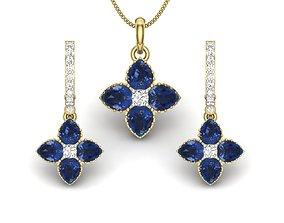 engagement Women pendant-earrings set 3dm render detail