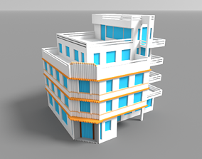 3D asset game-ready Voxel Miami Hotel 9