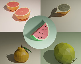 Low poly fruits pack-4 3D