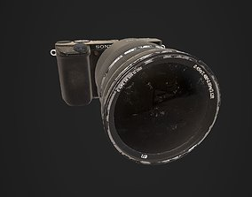3D model low-poly Photo Camera a6300 with lens Zeiss