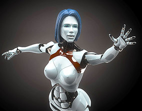 Robotic Woman Cyborg realistic 3D rigged