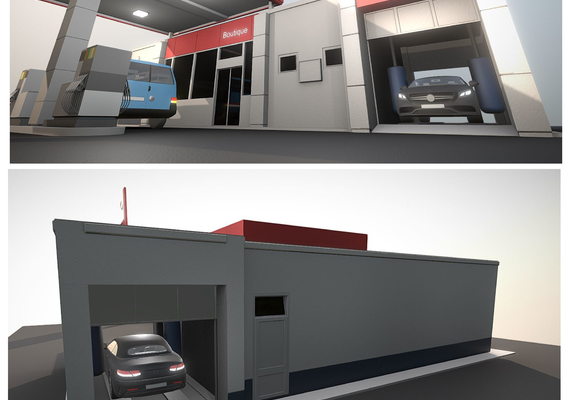 Low-Poly Gas-Station Type-1