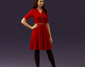 3D Woman in red dress 0408