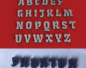 FRAKTUR uppercase and lowercase 3D Letters