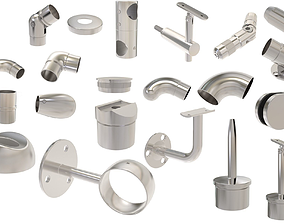 3D model stainless handrail systems components