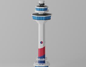 3D model Cartoon Seoul Gimpo Airport Control Tower Korea
