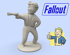 Fallout Vault Boy with a gun model for 3D printing