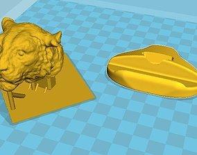 Tiger head desk pen holder office 3D print