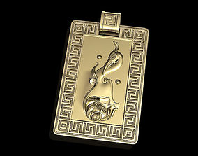 silver 3D printable model Crane and lotus pendant