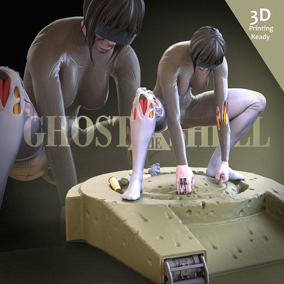 Motoko VS Tank (Fan art) 3D Printing Ready