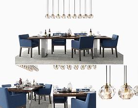 RH Morgan Track Blue Dining Set 3D model