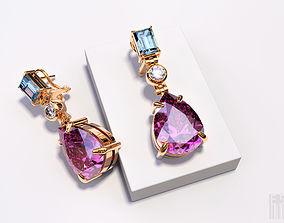 3D print model earrings with stones
