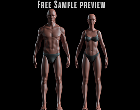 Realistic Human Basemesh - Male and Female - 3D asset 2