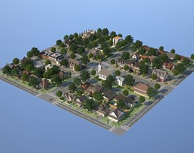 City Town KC10 3D asset VR / AR ready