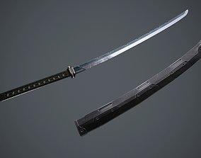 3D asset Sci-Fi katana sword PBR