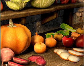 3D asset Medieval Fruits And Vegetables