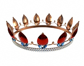 3D model Queen crown with jewel 2