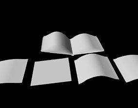 Open Book Paper Pieces untextured 3D asset