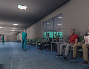 Hospital - modular building props and characters 3D model