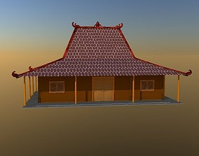 3D asset low-poly Traditional house