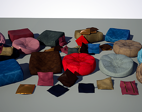 Pillow and Puff Textured Medium Poly HQ 3D model