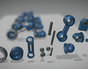 Hydraulic Suspension with Tires Blue Version 3D model 2