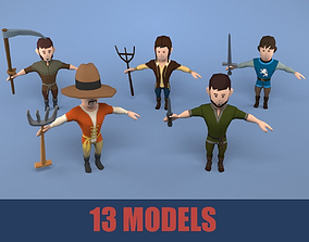 3D asset Medieval character peasant package