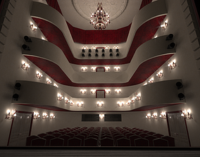 3D model Theater- auditorium - stage -