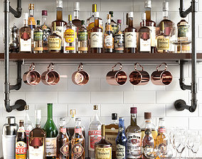Shelves with alcohol Bar 3D model