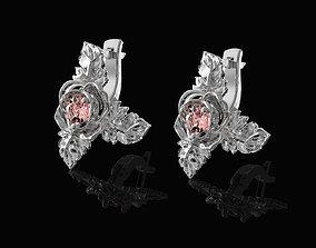 gemstone Rose with leaves earrings 3D printable model