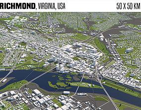 3D Richmond Virginia USA 50x50km