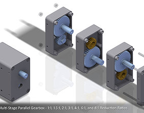 3D print model Configurable Multi-Stage Parallel Gearbox