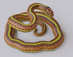 3D model Rigged Yellow Snake