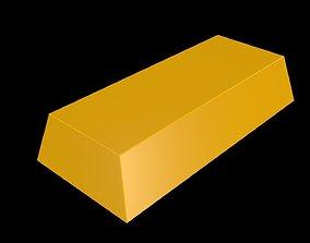 Low poly gold bar 3D model