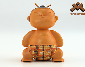 Mimushi Sumo Fighter Figurine 3D asset