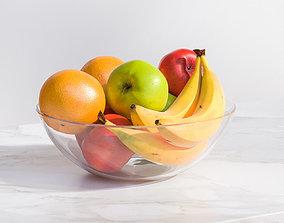 3D Fruit in a transparent glass bowl