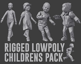 Rigged Lowpoly Childrens Pack 3D asset