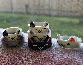 3D print model cute cat ring