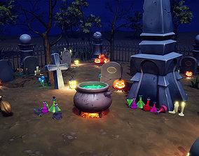 Cartoon Graveyard Props 3D asset